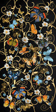 Dancing Butterflies Floral Composition in Black Large Tapestry Wallhanging 68x28