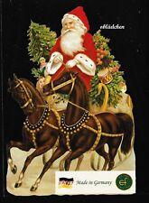 # GLANZBILDER # EF 5125 Bild - Karte /Riesenoblate: Weihnachtsmann mit Pferden