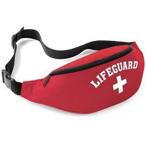 Lifeguard Red + White Bum Bag - Fancy Dress Beach Wear Waist Belt Money Pouch