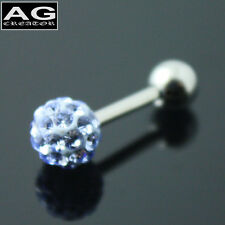 A single lavender cubic snow ball barbell earring stud piercing 18g US SELLER