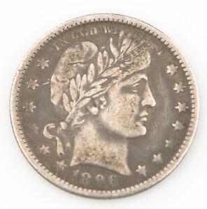1896-O 25¢ Barber Quarter, Strong VF Condtion, Medium Toning, Tough Date!