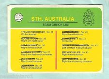 SCANLENS 1978 CRICKET CHECKLIST CARD, SOUTH AUSTRALIA, CHECKED