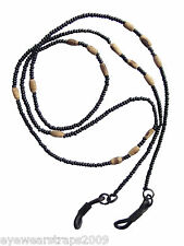 NEW One Unisex Black Sunglasses / Glasses Seed & Wooden Beaded Cord Strap Chain