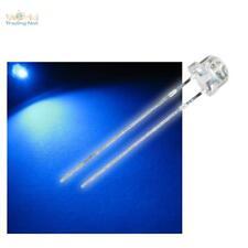 10 Flachkopf LEDs 4,8mm blau, blaue Strawhead LED + Widerstand, blue bleu blauw