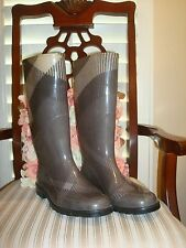 AUTHENTIC BURBERRY RAIN PLAID SMOKED BOOTS SIZE 10