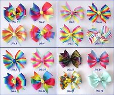 "50 BLESSING Good Girl Boutique 3.25"" Abby Rainbow Hair Bows Clip Accessories"