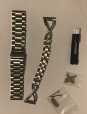 2 Silver Stainless Steel Bands For Samsung Gea...assic/frontier Smart Watch