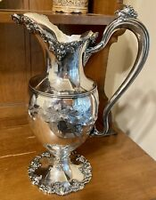 """Barbour Silver Plate Opulent Hand Chased Grape Pitcher 14"""" C. 1880s Excellent!"""