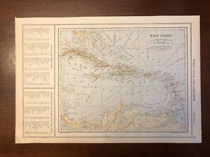 1917 West Indies, Cuba, Jamaica, Haiti Map, Encyclopedic Atlas and Gazetteer