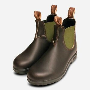 Blundstone Brown 519 Chelsea Boots with Olive Elastic
