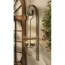 European Tuscan Glass & Ornamental Metal Candeliere Wall Sconce Candle Holder