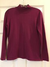 COLDWATER CREEK Women's Solid Plum Purple Knit Top Long Sleeves Sz Small S