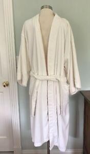 Nautica ~ Men's Bathrobe  ~ One Size ~ White Terry Cloth ~ Long ~ Belt ~ Pockets