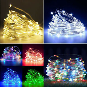 50 100 LED Copper Wire String Fairy Light Strip DC Clips Lamp Xmas Party Outdoor