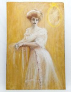 LATE 19TH-EARLY 20TH C SIGNED R. E. OBERLIN PASTEL PORTRAIT OF A YOUNG DEBUTANTE