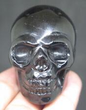47mm 3.1OZ Natural OBSIDIAN Crystal Carving Art Skull
