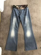 Full Circle Army Pattern Waistband, Buckle Belt Striped Flared Jeans Size 29