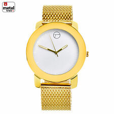 Hip Hop Fashion Gold Plated Stainless Steel Metal Mesh Band Watches WM 8152 WG