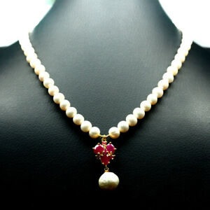 """NATURAL HEATED RED RUBY &  BAROQUE - ROUND PEARL NECKLACE 18"""" 925 SILVER"""
