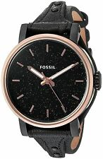 Fossil Women's ES4112 Original Boyfriend Sparkle Black Dial Black Leather Watch