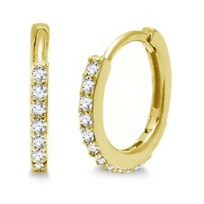 Clear Simulated Brilliant Round Diamond Yellow Gold Huggie / Hoop Earrings
