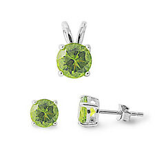 Peridot .925 Sterling Silver Pendant & Earrings Set .5""