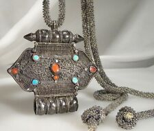 Antique Tibetan Turquoise & Coral Pendant with Silver Filigree - 57958
