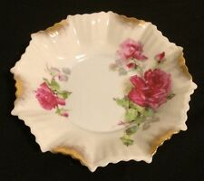 Vtg Wheelock Germany Scalloped Edge Handpainted Trinket~Pin~Dresser Dish~Roses