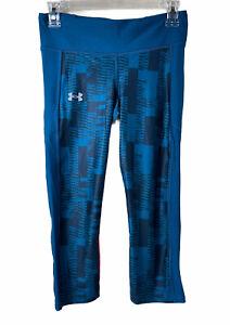 Under Armour UA Heatgear Compression Women's Capri Pants Blue/Orange Sz Med NWT