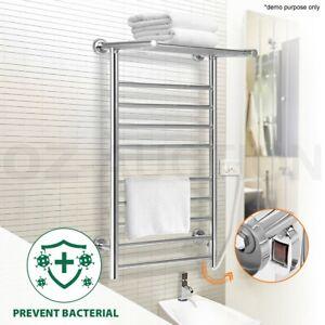 14 Bars Electric Heated Towel Rail Rack Stainless Steel Bathroom Clothes Warmer