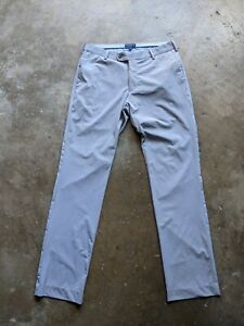 Peter Millar Crown Crafted Mens 32x32 Gray Flat Front Belted Dress Pants Nylon