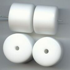 12 VINTAGE WHITE ACRYLIC 24x19mm. SMOOTH  BARREL BEADS 5426