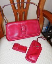 Red Nine West Designer Handbag Purse + Wristlet Wallet + Vape Lipstick Case Set