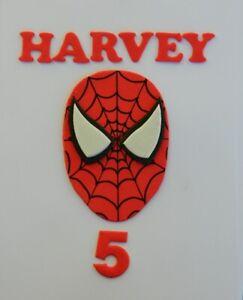 1 large 13cm edible SPIDERMAN face NAME AGE cake topper decoration SUPER spider