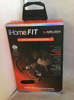 iHome FIT Bluetooth Water-Resistant Wireless Sport Earbuds ~ Red/Black ~ iB71BRC