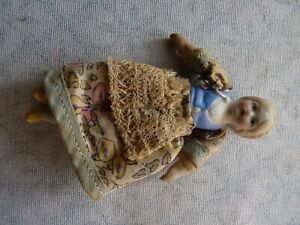 Antique Miniature Bisque Dolls House Blond Doll With Jointed Arms