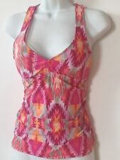 NEw Antonio Melani Tribal Red Glow Tankini Small Underwire
