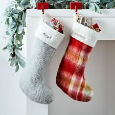 West Elm Wool Blend Soft Touch Stocking - Red Plaid