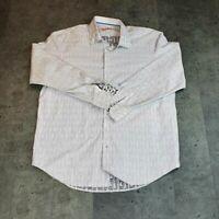 Robert Graham Mens Dress Shirt White Gray Paisley Flip Cuff Sleeve XL 17 1/2 44