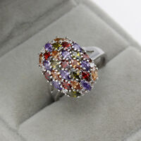 Multi-color Amethyst Garnet Topaz 925 Silver Filled Ring Women Jewelry Size 6-10