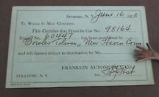 1920 FRANKLIN AUTOMOBILE CO. Certificate of Purchase Card
