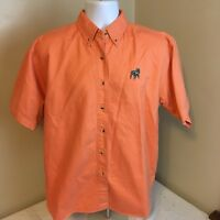 Mack Truck Classic Mens Shirt Short Sleeve Small Embroidered Bulldog Logo Orange