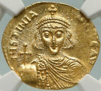JUSTINIAN II Genuine Ancient 686AD GOLD Byzantine Solidus Coin CROSS NGC i84934
