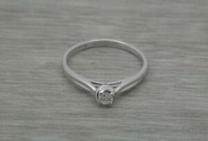 Beautiful 9ct White Gold 0.10ct Round Cut Diamond Solitaire Ring UK size N