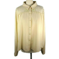 Womens Uttam Boutique Size 16 Blouse Shirt Top Cream Sheer Butterfly Lace
