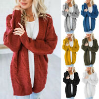 Women's Cardigan Sweater Chunky Cable Knit Open Front Long Midi Winter