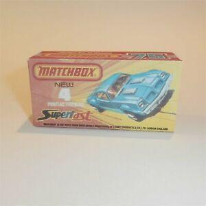 Matchbox Superfast  4 g Pontiac Firebird Empty Repro J Style Box