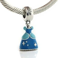 925 Sterling Silver Princess Cinderella Dress Charm Enamel Dangle Fit Bracelet