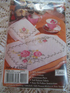 Tobin Stamped To Cross Stitch Placemat & Napkins Set Dinning For 2 Boquet Roses