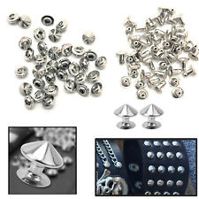 10mm Silver Punk Cone Studs 100pcs Spike Spot Rivets for DIY Arts & Crafts Shoes